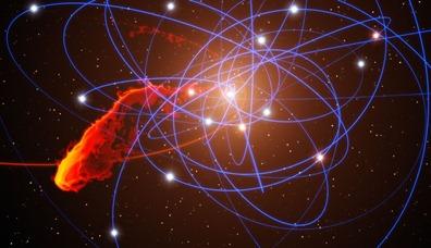 simulação da nuvem de gás se aproximando do buraco negro