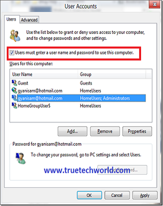 Autologon User account in windows 8