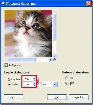 GIMP Sfocatura Gaussiana