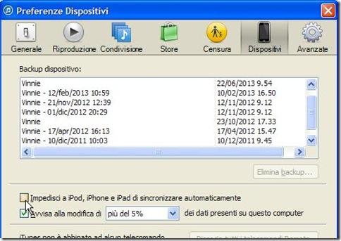 iTunes disattivare sincronizzazione