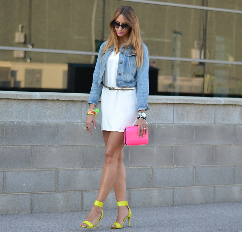 H&M sandals, Zara TRF neon clutch, Zara dress, Denim Jacket