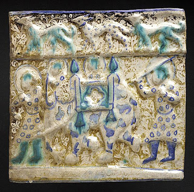 Frieze Tile with Elephant and Rider The Legacy of Genghis Khan: Courtly Art and Culture in Western Asia, 1256-1353 | Origin: Iran, probably Takht-i Sulaiman | Period:  1270s | Collection: The Nasli M. Heeramaneck Collection, gift of Joan Palevsky (M.73.5.222) | Type: Ceramic; Architectural element, Fritware, overglaze luster-painted, 11 x 11 1/4 in. (28 x 28.6 cm)