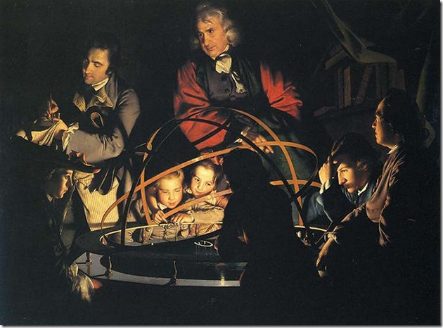 Luna Wright-of-Derby-Philosopher-Giving-Lecture-on-Orrery-with-Lamp-in-Place-of-Sun-c1766
