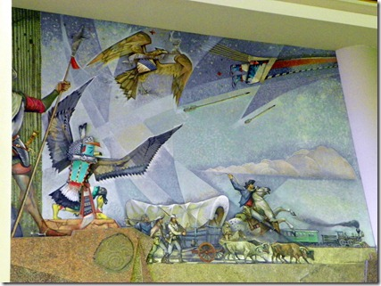 In the airport, more art work depicting Arizona history.