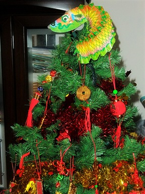christmas tree repurposed as chinese new year tree in taiwan