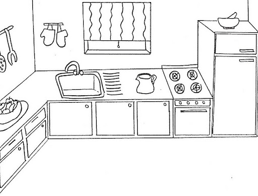 Kitchen Coloring Kitchen Coloring Pages