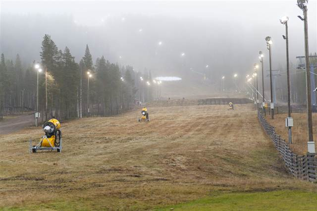 A grassy, snowless, competition slope is seen in Levi, Finland, 4 November 2011. World Cup Alpine skiing races were moved to Austria because of the lack of snow. Janne Koskenniemi  /  AP