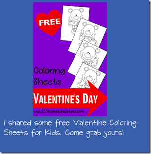 Free Valentines day coloring sheets from 123 Homeschool 4 Me