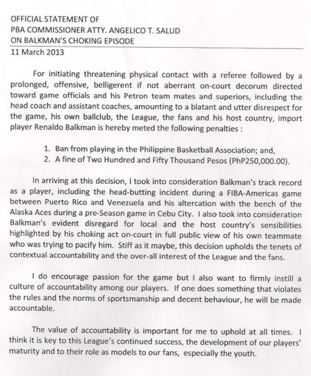 PBA official statement on Balkman's choking episode