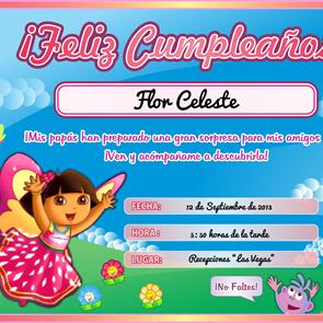 Tarjeta de Cumpleaños de DORA La Exploradora para Imprimir - Invitaciones de Fiesta Infantil