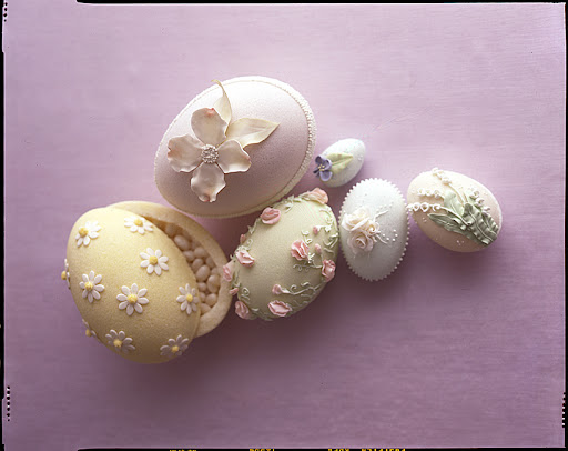 Hollowed out sugar eggs are the perfect vessels for hiding treats.