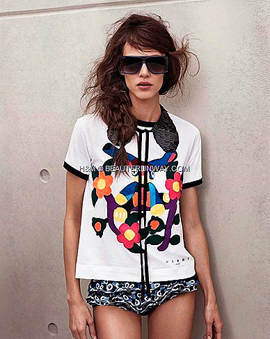 Marni H&M t-shirt, Sequin Black Collar , Swimswear, Sunglasses