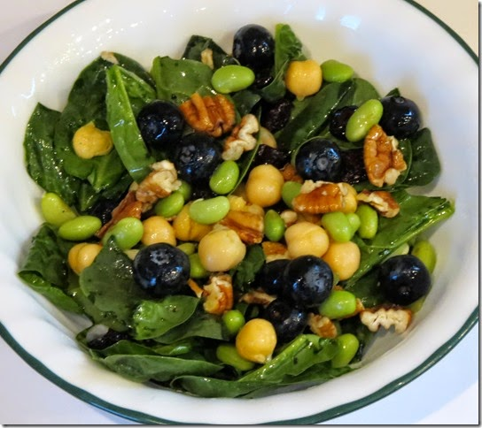 Spinach Edamamae Blueberry Pecan Salad 7-22-14