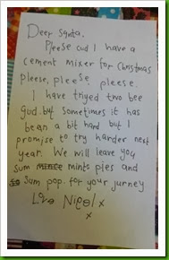 Nigel's letter to Santa