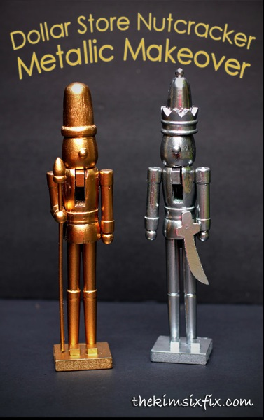 Turn dollar store nutcrackers into modern shiny metallic silver and gold faux metal versions.