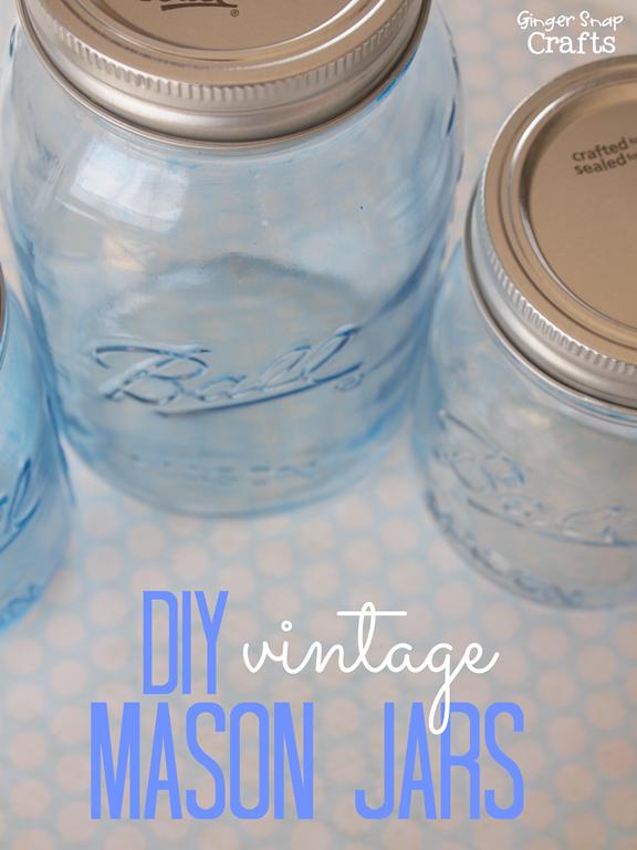 DIY Vintage Mason Jars #bluemasonjars #decoart #glasspaint #gingersnapcrafts