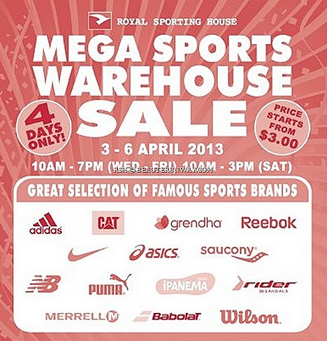 ROYAL SPORTING HOUSE WAREHOUSE SALE 2013 SINGAPORE PUMA  ADIDAS NIKE REEBOK NEW BALANCE SPORT SHOES APPAREL ASICS SAUCONY MERRELL WILSON IPANEMA  BABOLAT GRENDHA Riders sandals accessories basketball soccer sneakers