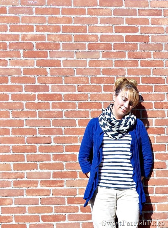 Blue Striped shoes and shirt, Blue cardigan, chevron scarf, khaki pants4