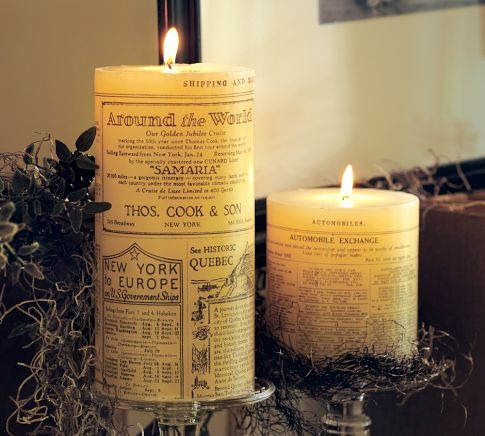 PB newsprint candles