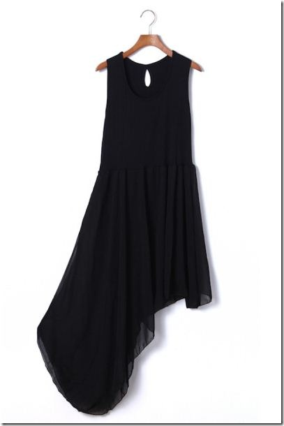 fashion sleeveless chiffon dress with asymmetric hem
