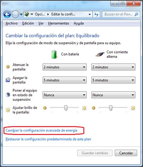 Cambiar la configuracion avanzada