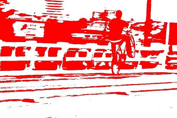 homem de bicicleta efeito limiar