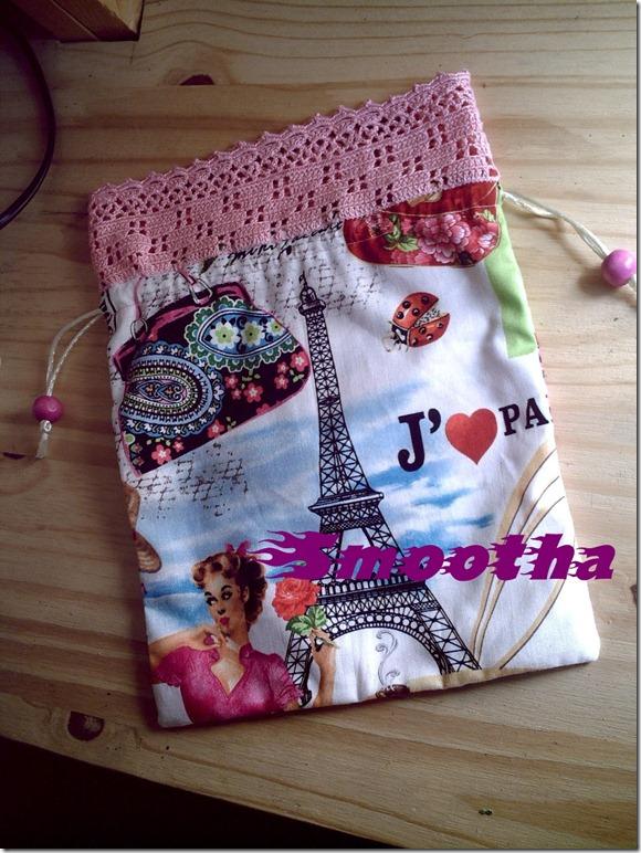 Saco com aplicação em crochet J'aime Paris (1)