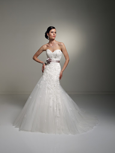 I love the color sash on this Sophia Tolli gown.