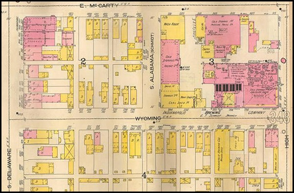 1898.Sanborn Ins. Map includes a diagram of the Indianapolis Brewing Company, formerly the Schmidt Brewery