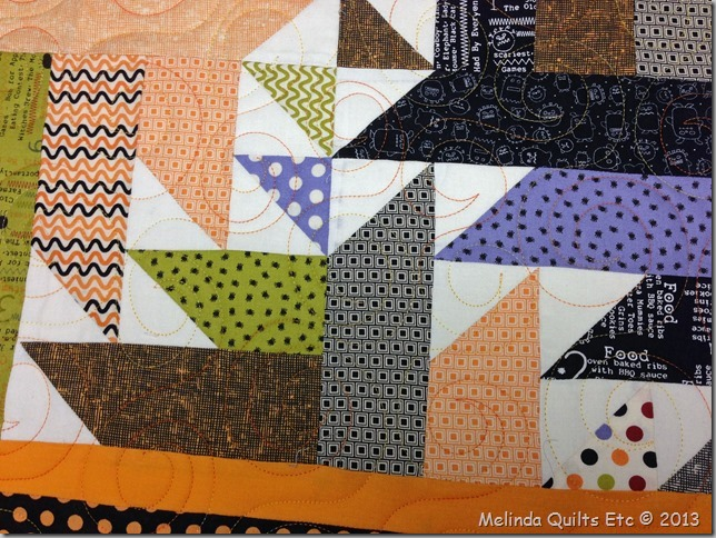 0713 Halloween Quilt Top on Frame