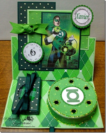 The Green Lantern Birthday Cake Easel Card1