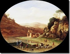 Cornelis-van-Poelenburgh-Valley-with-Ruins-and-Figures