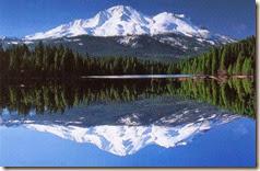 Shasta over lake