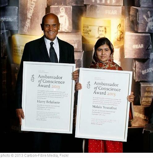 'Malala Yousafzai and Harry Belafonte, 2013 Ambassadors of Conscience #AmnestyInternational #HarryBelafonte #Malala #AmnestyAmbassadors #Amnesty #Dublin #SeamusHeaney #BillShipsey #PetulaClark #Bono #RogerWaters #Ireland #MansionHouse #picoftheday #activis' photo (c) 2013, Carbon-Fibre Media - license: http://creativecommons.org/licenses/by-nd/2.0/