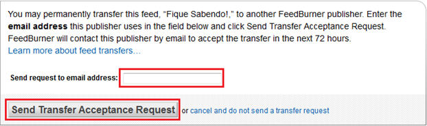 Coloque o e-mail para transferir feed