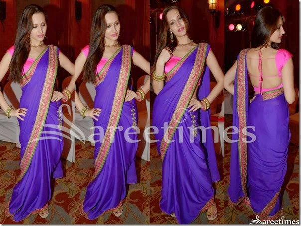 Olga_Blue_Plain_Saree
