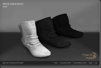 DANIELLE Denim Ankle Boots Mono'