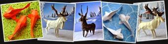 View Origami Elk, caibou, fish