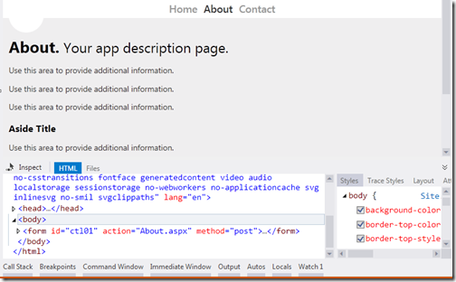 Inspect HTML with Page inspector in Visual Studio 2012