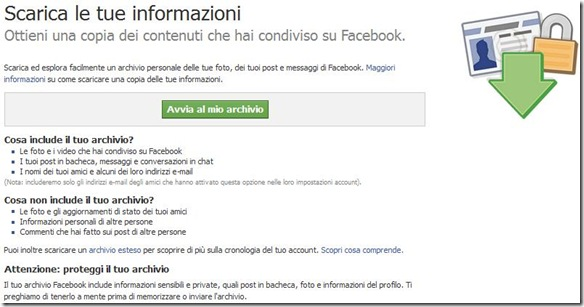 Facebook Scarica le tue informazioni