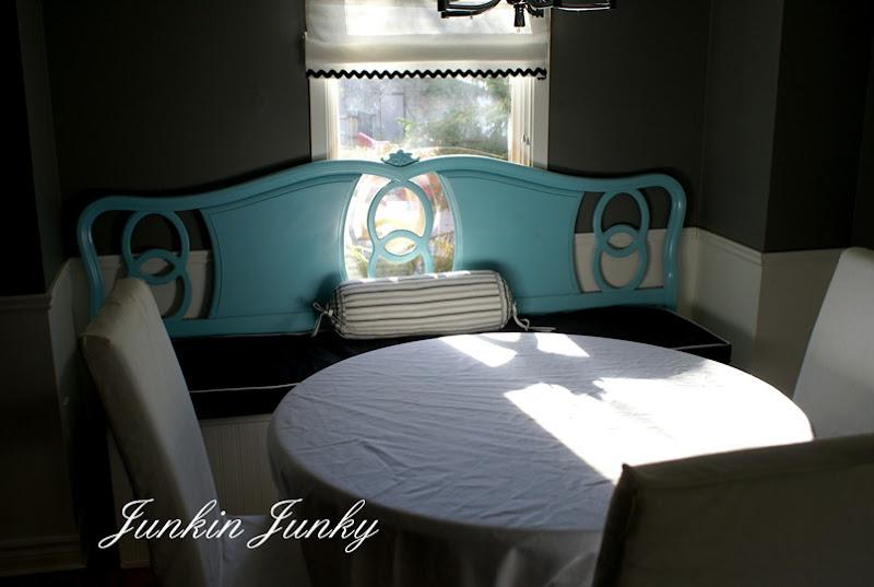 Headboard in the dining room at Junkyjunky.blogspot.com