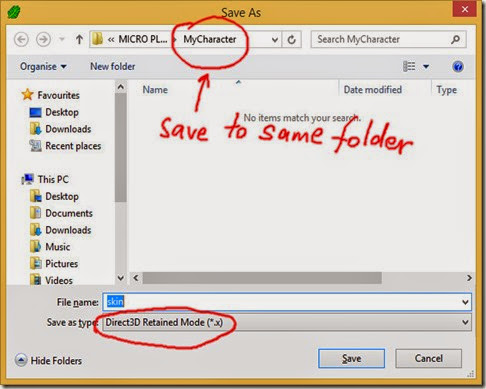 Save as Direct3D Retained Mode file
