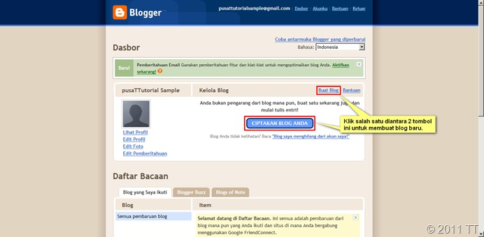 Dasbor Blogger-membuat blog baru