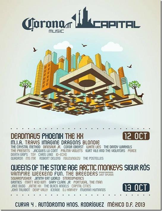 cartel oficial completo corona capital mexico 2013