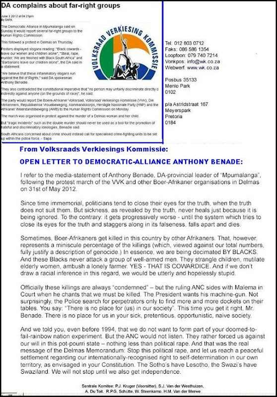 VOLKSRAADVERKIESINGSKOMMISSIE LETTER TO DA OF MPUMA ANTHONY BENADE HATESPEECH CLAIM JUNE 4 2012