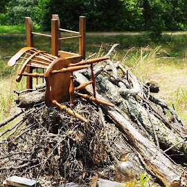 Chairs on a Burn Pile by Keith Bass - Artistic Objects Furniture ( chair, arkansas photographer, wooden chair, chairs, rustic chair, ethan allen chair, burn pile, furniture, arkansas, Chair, Chairs, Sitting,  )