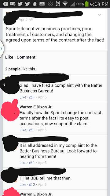 Sprint Advocates And Their Misleading Facebook Comments About The