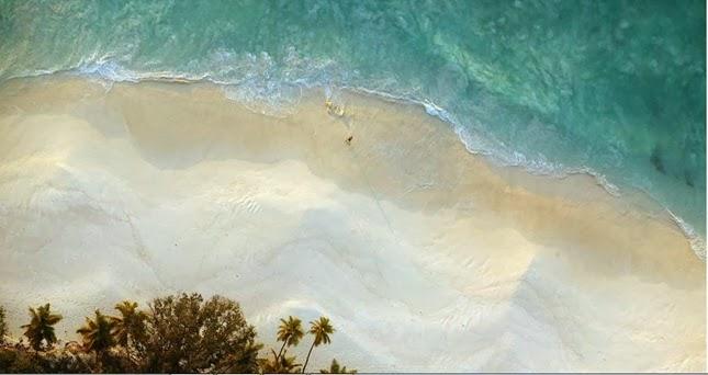 Uma vista aérea da North Island em Seychelles