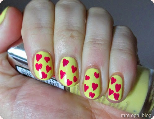 yellow with pink hearts
