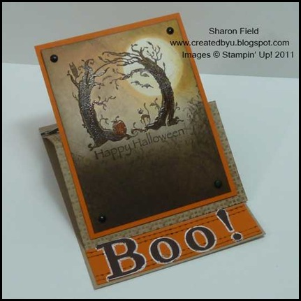 super_saturday, double, tutorial, halloween, boo, big_shot, alphabet, sizzlit, faux_stitching, brayer, createdbyu_blogspot, Sharon_field, sponging, technique, tips, embossing, square_lattice, easel, A2, card, postage, ribbon